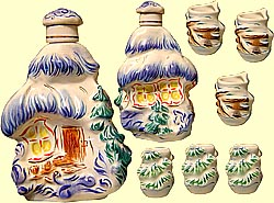Bottle set 'Log-hut in winter' (incl. 7 items)