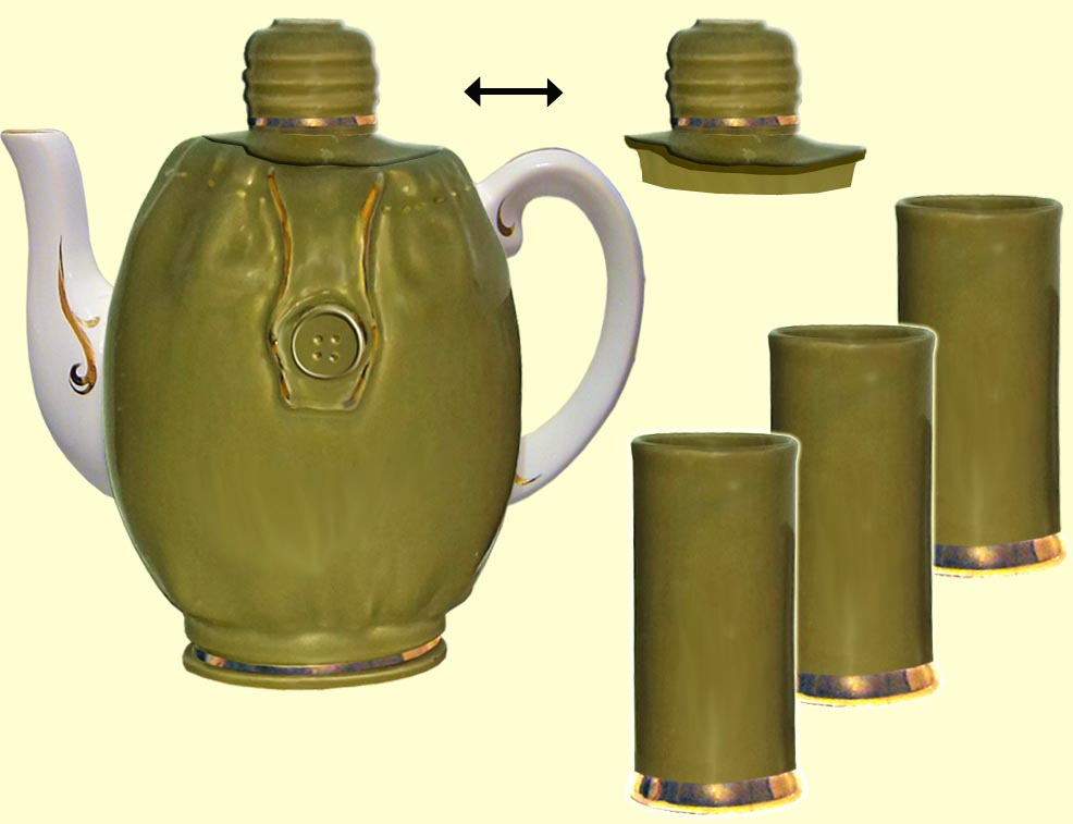 Teapot set 'Army flask' (incl. 4 items)