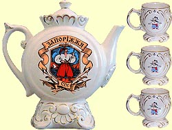 Teapot set Kumanyok N1 'Cossacks' with music (incl. 4 items)