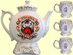 Teapot set Kumanyok N2 'Cossacks' with music (incl. 4 items)